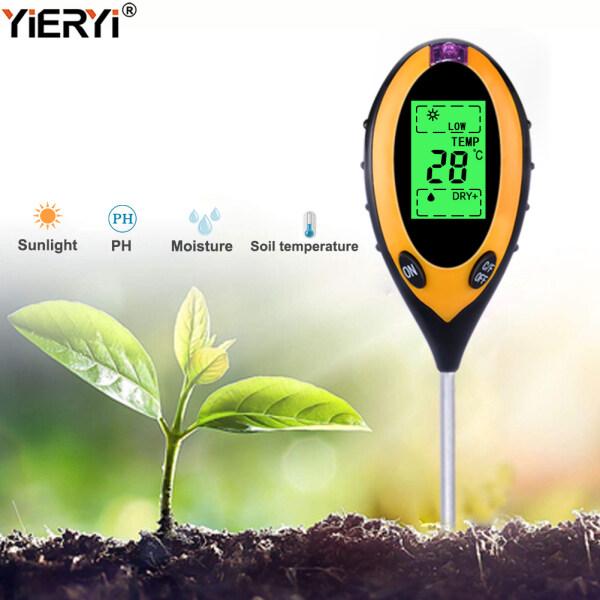 yieryi 4 IN 1 Digital Soil Moisture Meter PH Meter Temperature Sunlight Tester