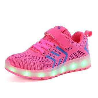 เด็กสีสันเรืองแสงรองเท้ารองเท้าปีนเขารองเท้าที่ชาร์จ USB เรืองแสง LED รองเท้าน้ำหนักเบาลื่น-