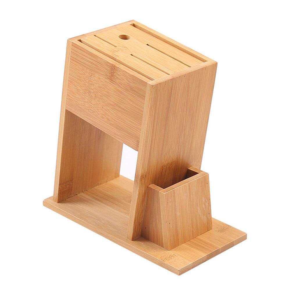 Organizer Bamboo Knife Block 7-Slot Cutlery Storage Holder Kitchen Tool Rack Stand