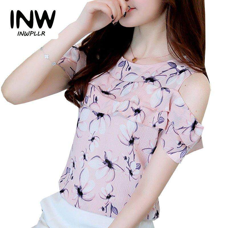 19b662aa26f Summer Tops Female Fashion Cold Shoulder Tops Ruffles Casual Chiffon Blouse  Women Elegant Floral Print Blouses