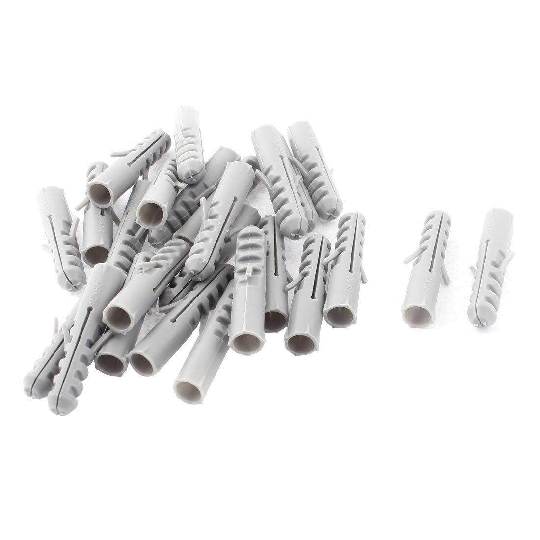M10x50mm Plastic Anchors Lag Expansion Nails Plugs Screws Clips 25Pcs,gray