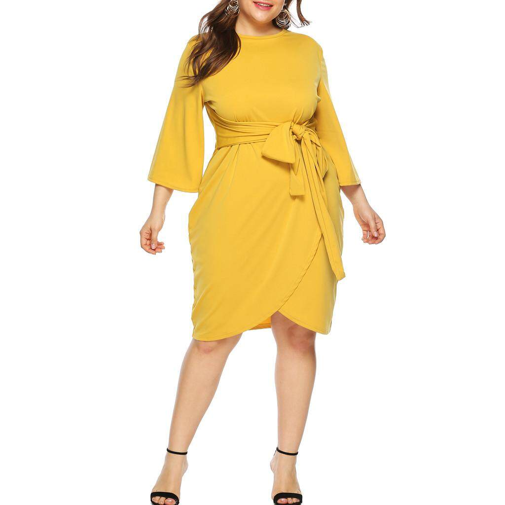d2aabce04801 Tianji Store Womens Plus Size Casual O Neck 3/4 Sleeve Knee Length Dress  Party