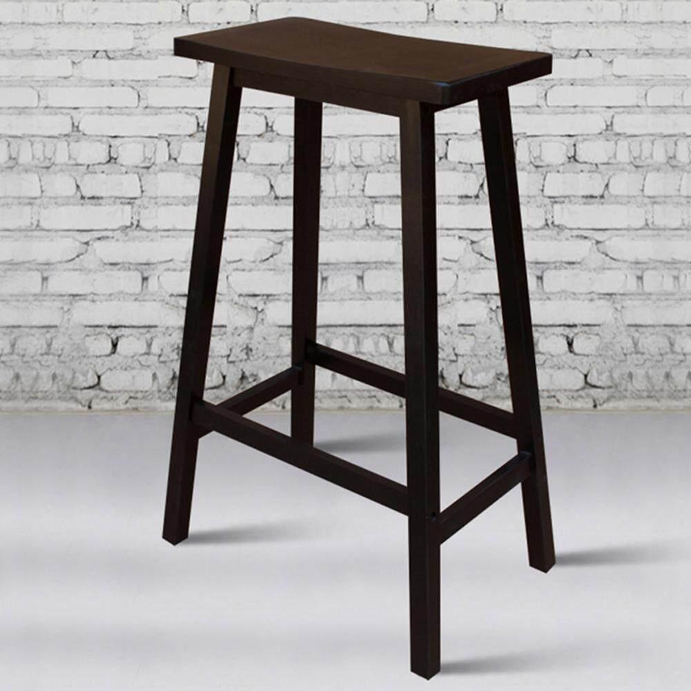 Warmhousee ♥ 2pcs 29\  Solid Pine Wood Saddle Seat Bar Stool Black