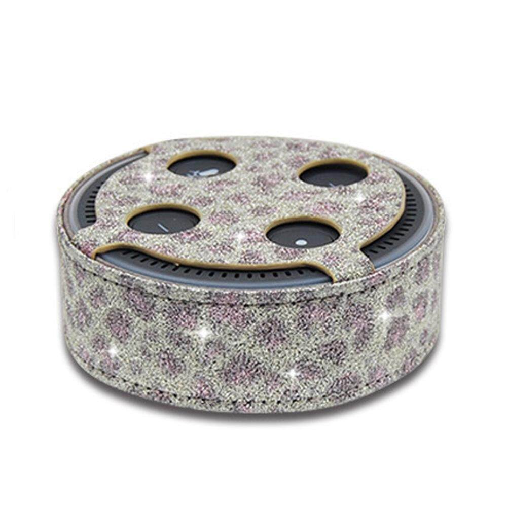 1188 Amazon Echo Dot 2 Intelligent Bluetooth Speaker Leopard Print Pattern  Plain Weave Flash PU Protective Case Amazon Protection Cover