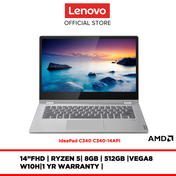 Lenovo Notebook Laptop IdeaPad C340 C340-14API 81N60011MJ 14 FHD/AMD RYZEN 5/8GB/512GB/VEGA8/W10H/1YR WARRANTY Malaysia
