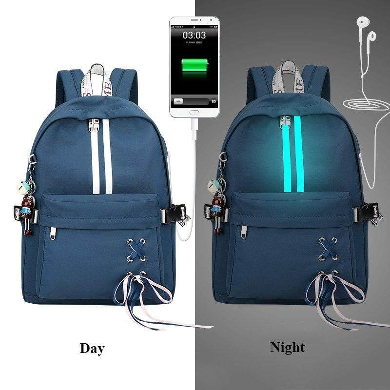 8ea044302a Fashion Waterproof Anti Theft Reflective Women Backpack Earphone Hole  Drawstring Bow Design Girls College School Bags