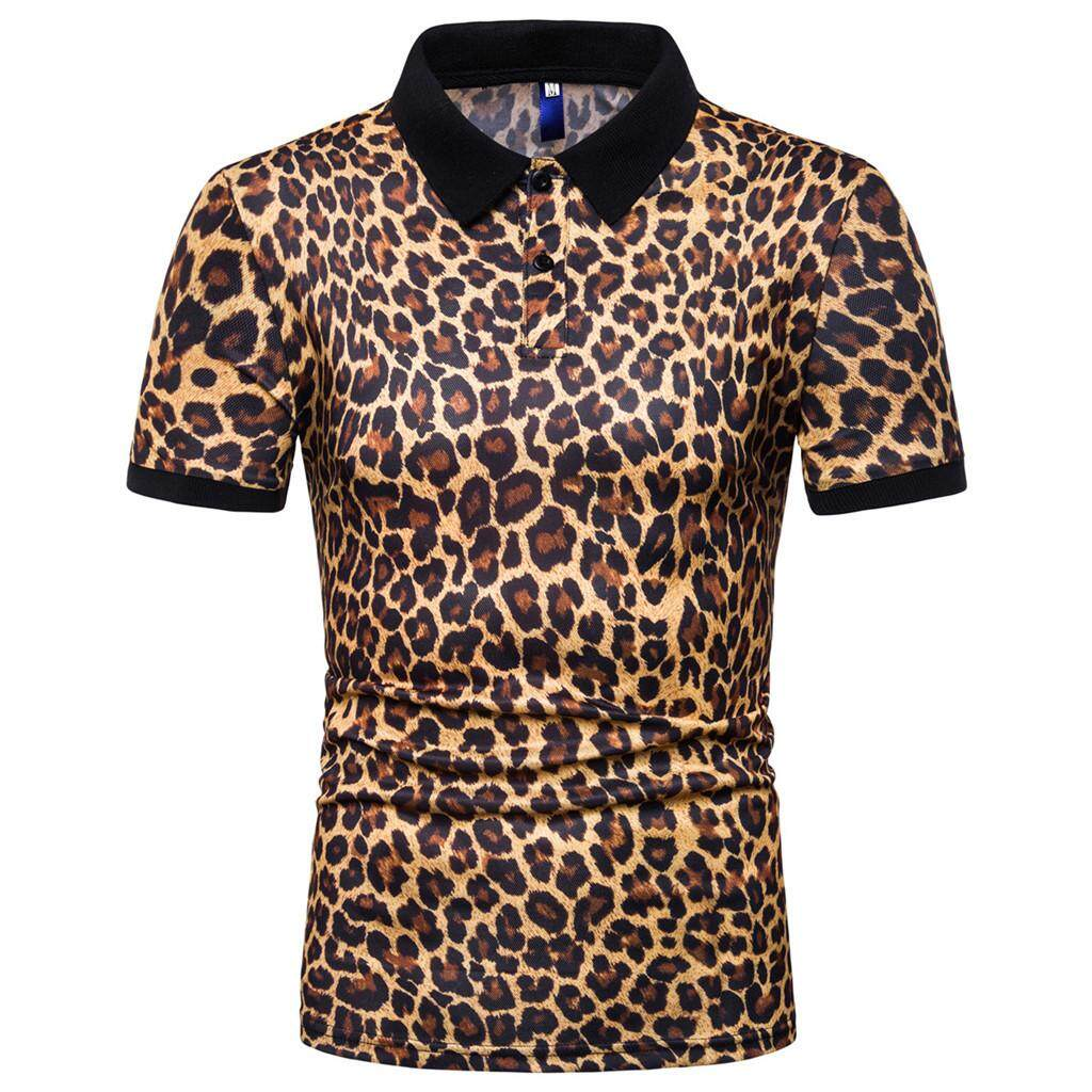 98148e4d6 Akalistore 2019 New Arrival Men's Fashion Short Sleeve Stripe Leopard Print  Large Size Casual