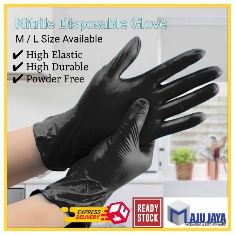 【SPOT HOT SALE】 New 2021 Black Nitrite Disposable Gloves (100 pcs) Sarung Tangan Getah Rubber Glove M   L Size Household Beauty Food [Maju Jaya] Malaysia