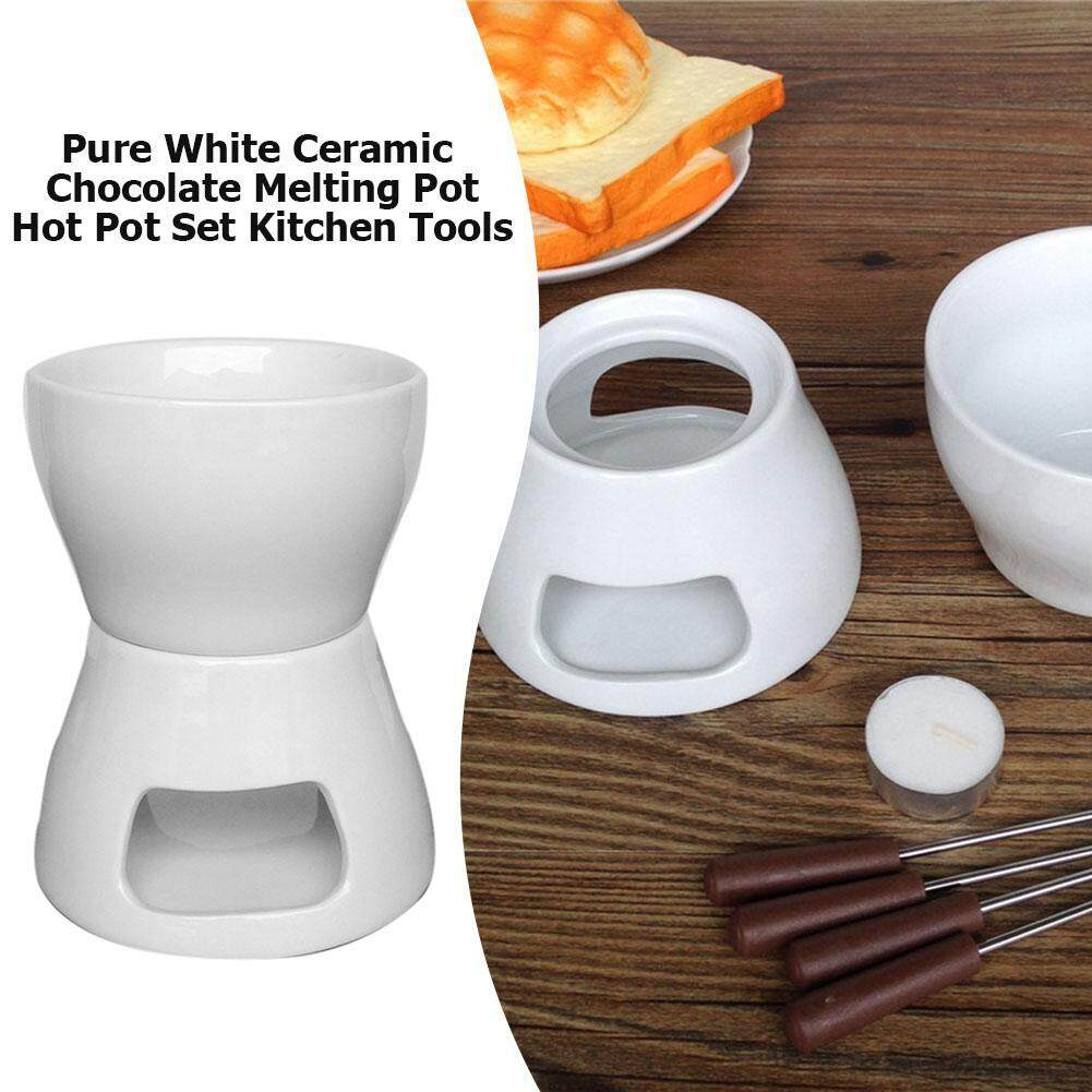 Pure White Ceramic Chocolate Cheese Melting Pot High Temperature Resistance Hot Pot Set Kitchen Tools