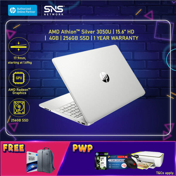 NEW HP Laptop 15s-eq1017AU / 15s-eq1018AU 15.6 HD (AMD Athlon 3050U, 256GB SSD, 4GB, AMD Radeon, W10H) - (Gold/Silver) [FREE] HP Backpack + 1 Year Bitdefender Internet Security Malaysia