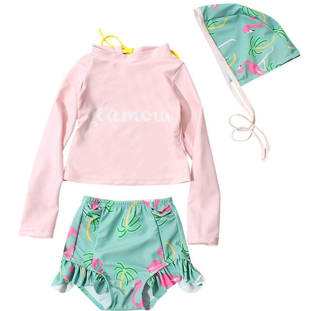 Giá bán HuaX 3Pcs/Set Baby Girls Long Sleeve Sunscreen Swimwear High Waist Shorts Hat Set Children Clothing