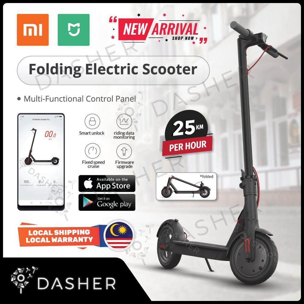 (English set) Xiaomi Mijia Mi Smart Electric Scooter M365 Bike with speed  26kmh & 30Km Long Range Fordable LED scooter Smart app (Malaysia 2 pin plug)