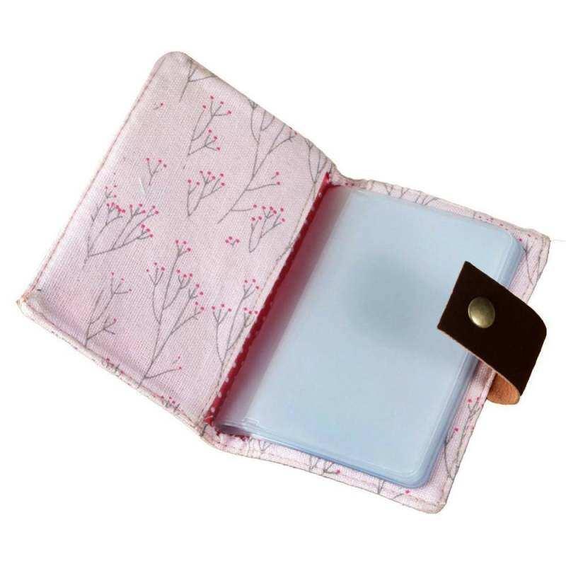 HHS86JUS Kanvas Berbunga Cover 20 Slot Kredit ID Pemegang Kantong Kartu Dompet Merah Muda Tas Kartu
