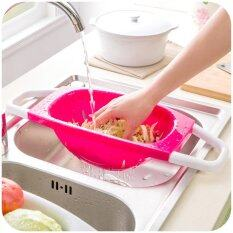 Foldable Holder Kitchen Drain Basket (red, Green Or Blue) By Freemarket Lifestyle Trading.