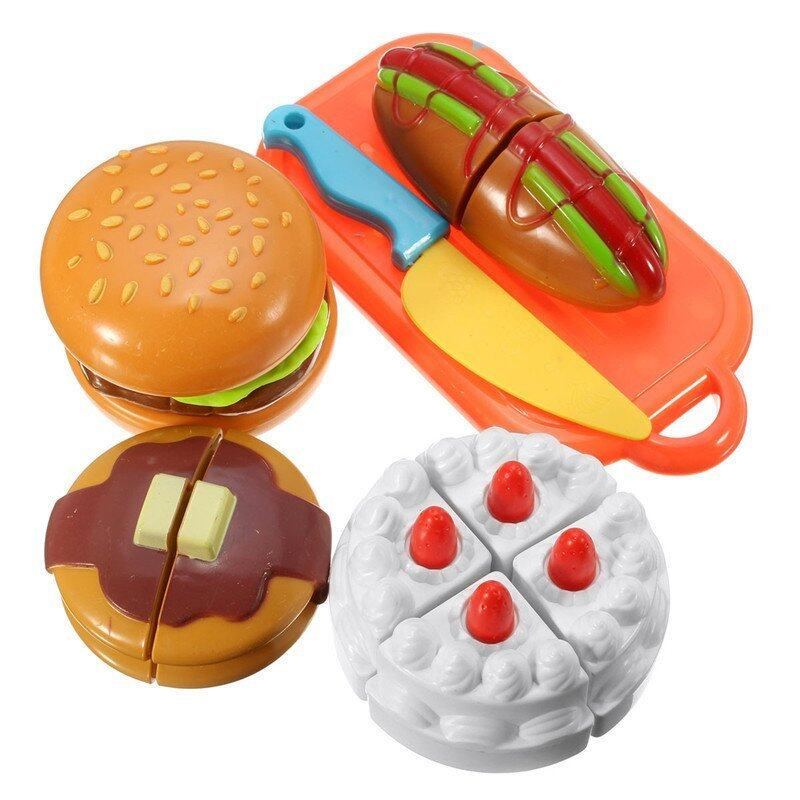 GAKTAI Plastic Cutting Birthday Party Cake Hamburg Slice Baby Kitchen Food Pretend Play House Artificial Classic Toy for Children Kids