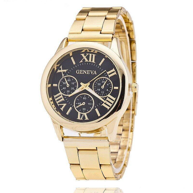 Geneva Quartz Stainless Steel Unisex Wrist Watch Gold Black Malaysia