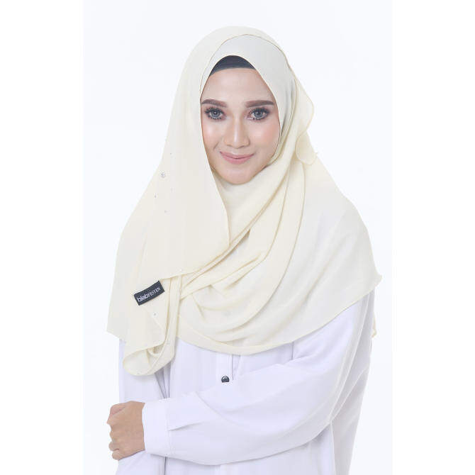 Hijab Fesyen Rindu Long Shawl Cream