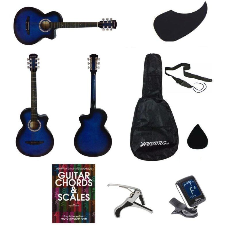 HYBURG Acoustic Guitar 38 Inch(Blue)+Bag+Pick+Pickguard+Strap+Book+Capo+Tuner Malaysia