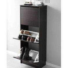 Ikea 302.561.79 Bissa Foldable Shoe Cabinet   3 Compartment (Black Brown)