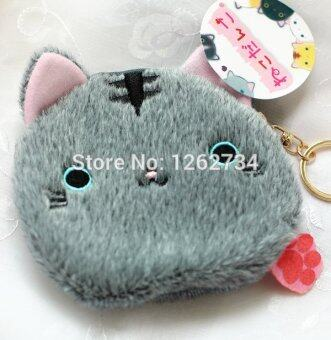 6 Styles Big Face Cat / Balls Cat 4.5\ Plush Coin Bag Purse Free Shipping