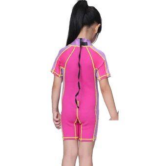1.5mm Neoprene Kids Girls Swimsuit Short Sleeve Swim Diving Snorkeling Rashguard Suit Shorty Wetsuits  Purple