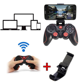 T3 Wireless Bluetooth 3.0 Gamepad Joystick Gaming Controller for Android Smartphone (Holder Included)