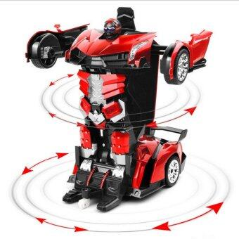 1:16 Big Size SUV Car Models Deformation Robot Transformation Remote Control RC Car Toys for Children Kids Gift,Red
