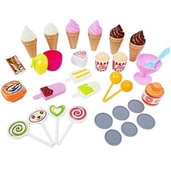 Children Babies Kids Miniature Sweet Candy Ice Cream Cart Shop with Light and Music Educational Toy Set Pink