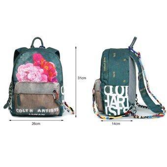 2016 Fashion Flowers Doodle Printed Rucksack Canvas Shoulder Bag Ethnic Style Backpack Travel Bags(26*14*31cm,Beige)