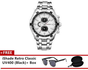 6adce7ced62 (100% Authentic) Curren Men s Stainless Steel Strap Watch 8023 (Japan  Movement 7T35