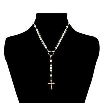 [321-0005-N-GLD] Stainless Steel & Pearl Rosary