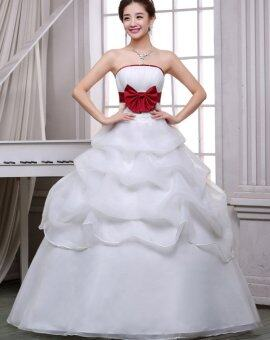 Wedding Dresses with Red Bow