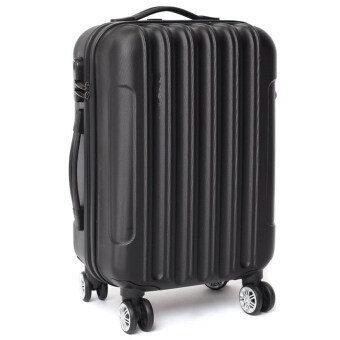 [Venture Deal] 20\ Hard & Compact ABS Suitcase Straight Line Travel Luggage (Black)