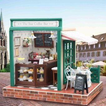 1:32 Miniature Doll House European coffee Bar DIY Handmade Dollhouse Kit Model with Furniture Light Music Dust Cover Lover Gift