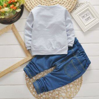 Baby boy Clothing Sets Korean cotton long-sleeved jacket + jeans suit