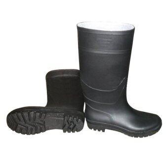 (38-47) Men Rain Boot Knee Height PVC Waterproof Anti-slip Sole Wear-resisting Black