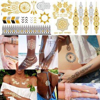 10pcs Gold Silver Metallic Temporary Tattoos Stickers Body Art Tatoo 210*148mm