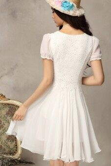 2015 Summer New style Women's Partysu Chiffon Slim Temperament sweet Princess dress Lace Short sleeve Dresses (White)