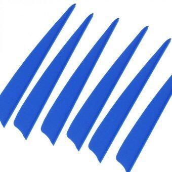 100 pcs 4\ Shield Plastic Blue Arrow TPU Fletching Vane Archery Bow For Hunting