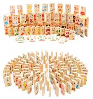 100 pieces Two-Sided Mandarin Pin Yin English Mathematics Learning Wooden Blocks with Images