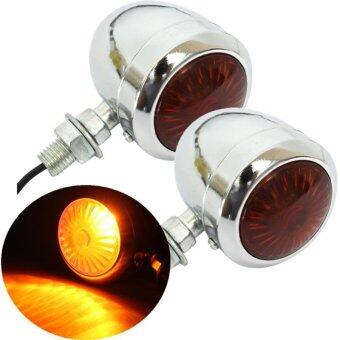1 Pair 12V Motorcycle Turn Signal Indicator Light Lamp For Harley Chrome Scooter