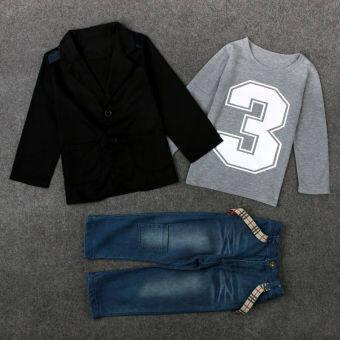 3pcs Kids Baby Boy Gentleman Coat + Shirt + Jeans Trousers Clothes Set