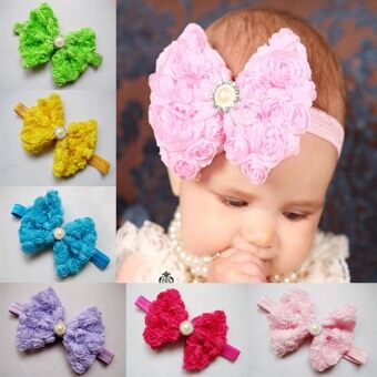 12pcs Girls Baby Children Satin Headband Hair Bow Band Accessories