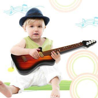 1Pcs Kid's Baby 4 String Acoustic Toy Guitar Wisdom Development Simulation Music Toy Wood Guita Random Color