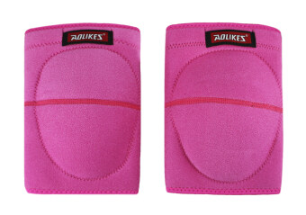 1 Pair Adult Compression Kneepad Sports Protective Gear Sponge Padded Crushproof Knee Pad Knee Brace Support Sleeve Warmer for Sports Fitness Exercise Pink L