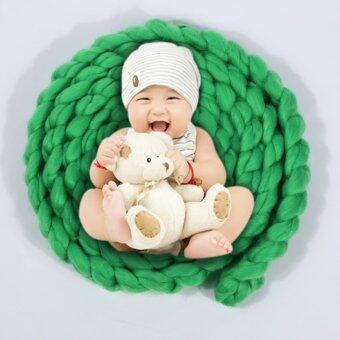 4M Wool Twist Rope Photo Props Backdrop Baby Photography Prop(green)