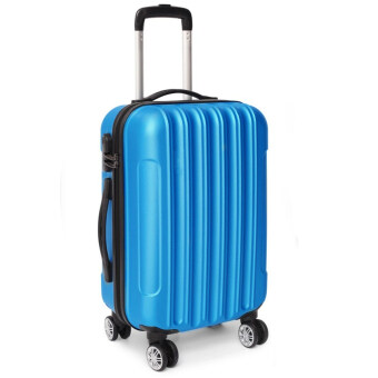 [Venture Deal] 24\ Compact ABS Blue Straight Line Travel Luggage with Free Protective Pink Cover