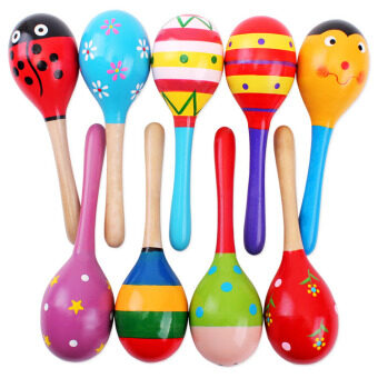 10 pcs Lovely Kids Sound Musical Instrument Educational Toy Gift Toddler Rattle Musical Wooden Colorful Toys (Random Color)