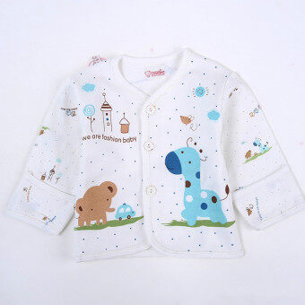 0-3 Months 5pcs Newborn Baby Boys Girls Clothes Soft Underwear Animal Print Shirt and Pants Cotton Clothing Sets (Blue)