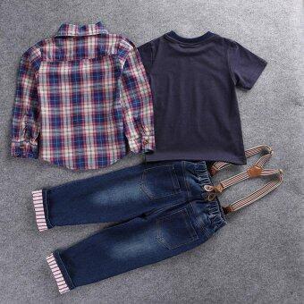 2016 Children's clothing sets for spring Baby boy suit Long sleeve plaid shirts+car printing t-shirt+jeans 3pcs suit set